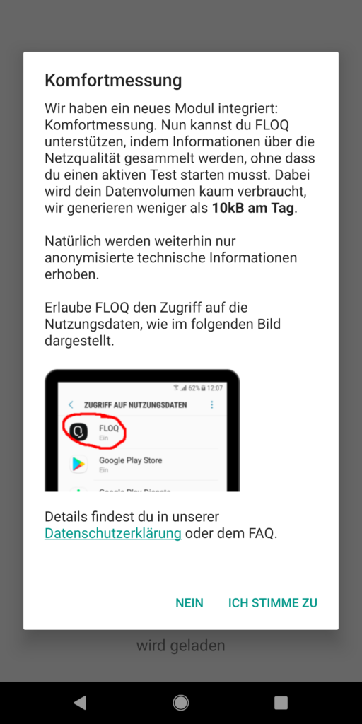 Mit der FLOQ App kann man die Netzqualität messen
